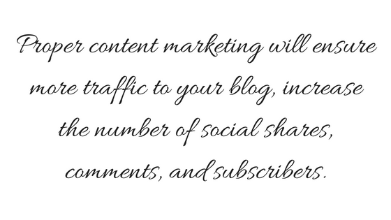 Proper content marketing will ensure more traffic to your site, increase the number of social shares, comments, and subscribers to your blog (2)